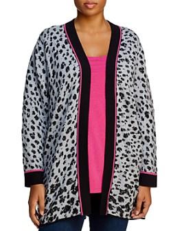 NIC and ZOE Plus - Cheetah-Jacquard Open Cardigan