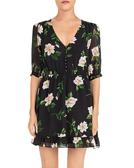 The Kooples - Floral-Print Silk Mini Dress