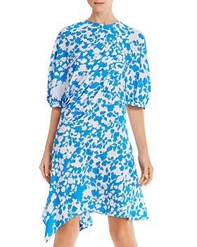 Preen Line - Lana Pleated Floral-Print Puff Sleeve Dress