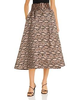 MSGM - Snakeskin A-line Midi Skirt