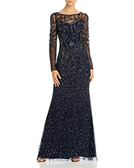 Adrianna Papell - Embellished Long-Sleeve Gown