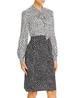 Donna Karan - Printed Tie-Neck Dress