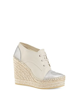 Gucci - Women's Leather Lace-Up Platform Espadrilles