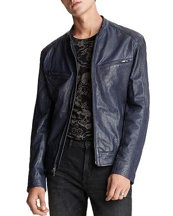 John Varvatos Star USA - Starman Leather Regular Fit Racer Jacket