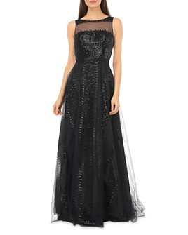 Carmen Marc Valvo Infusion - Sequined Illusion Gown