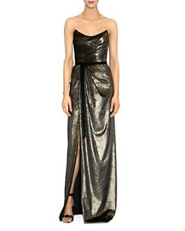 MARCHESA NOTTE - Strapless Metallic Velvet Gown