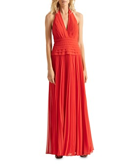 HALSTON - Pleated Halter Gown