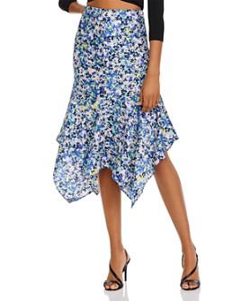 AQUA - Floral Handkerchief-Hem Skirt - 100% Exclusive