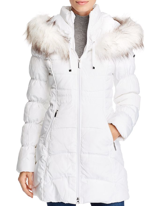 Laundry By Shelli Segal Coats Faux Fur-Trim Puffer Coat