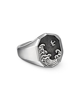 David Yurman - Sterling Silver Waves Signet Ring with Forged Carbon