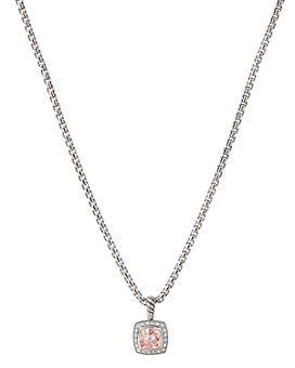 David Yurman - Sterling Silver Albion Pendant Necklace with Morganite & Diamonds, 17""