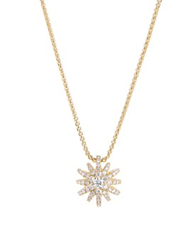 "David Yurman - 18K Yellow Gold Starbust Adjustable Pendant Necklace with Pavé Diamonds, 15""-17"""