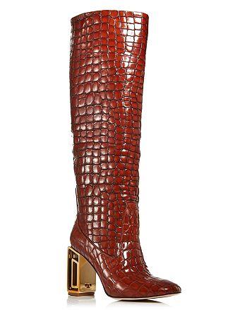 Tory Burch - Women's Jessa Croc-Embossed High-Heel Tall Boots