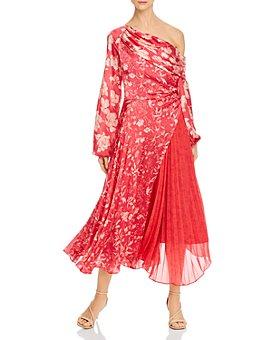 Amur - One-Shoulder Floral Silk Dress