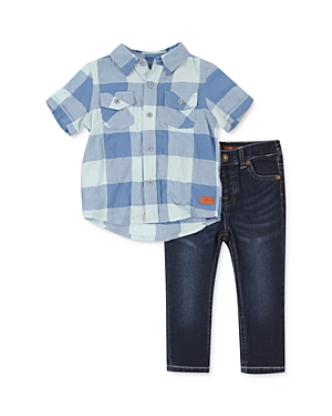 7 For All Mankind Boys' Checkered Camp Shirt & Jeans Set - Baby