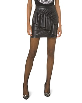 MICHAEL Michael Kors - Ruffled & Ruched Faux-Leather Mini Skirt