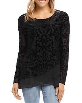 Karen Kane - Velvet-Burnout Crossover Top