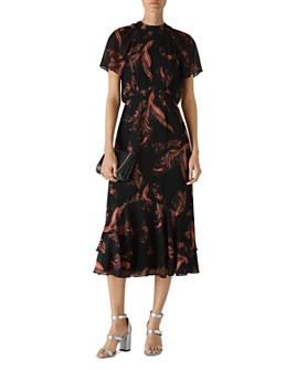 Whistles - Rose Paisley-Leaf-Print Dress
