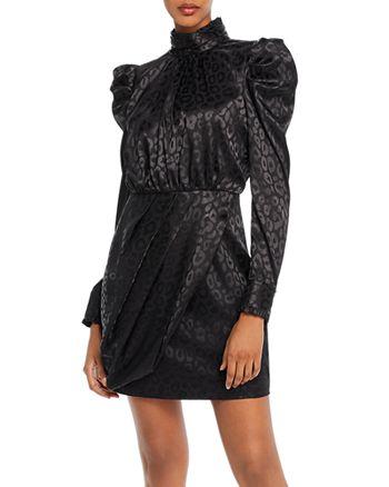 AQUA - Puff-Sleeve Leopard-Pattern Dress - 100% Exclusive