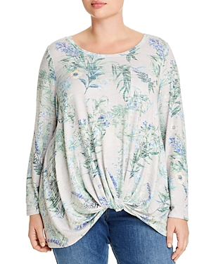 Cupio Plus Floral Print Twist-Front Top