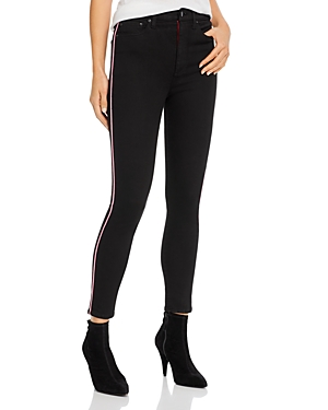 Alice + Olivia Good High-Rise Piped Ankle Skinny Jeans in Night Fever