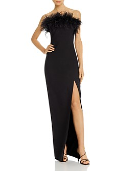 LIKELY - Desi Feather-Embellished Strapless Gown