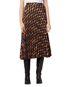 Sandro - Palma Printed & Pleated Midi Skirt