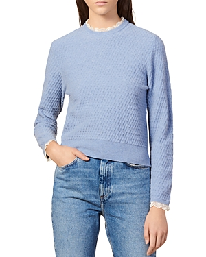 Sandro Sweaters VINTA LACE-TRIMMED CREWNECK SWEATER