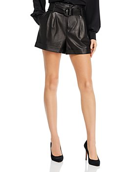 FRAME - Paperbag-Waist Leather Shorts