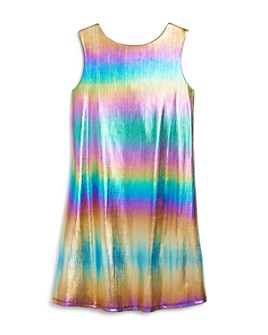 US Angels - Girls' Metallic Rainbow Dress - Big Kid