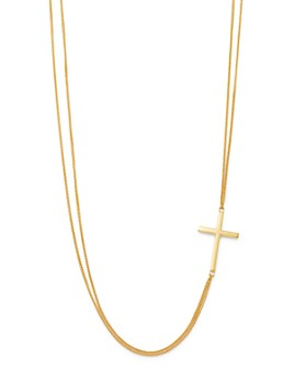 """Bloomingdale's - Cross Double-Row Collar Necklace in 14K Yellow Gold, 17.75"""" - 100% Exclusive"""