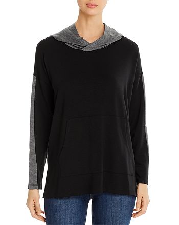 Eileen Fisher Petites - Two-Tone Hooded Top