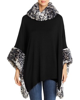 Capote - Faux-Fur Trimmed Fleece Poncho Sweater
