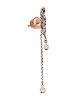 Kismet By Milka - 14K Rose Gold Diamond Feather Earring