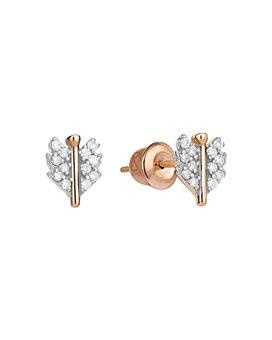 Kismet By Milka - 14K Rose Gold Diamond Mini Quill Stud Earrings