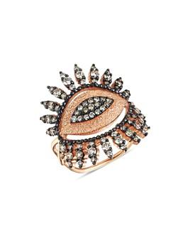 Kismet By Milka - 14K Rose Gold Champagne Diamond Eye Regina Ring