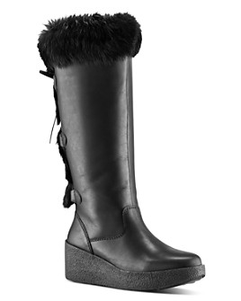 Cougar - Women's Durand Rabbit Fur-Trim Waterproof Tall Boots