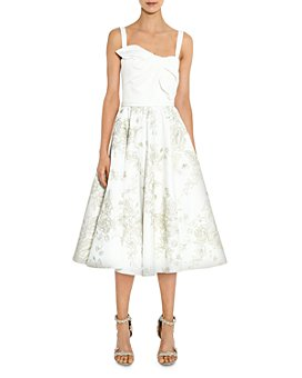 MARCHESA NOTTE - Twist-Detail Floral-Skirt Midi Dress