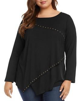 Karen Kane Plus - Asymmetric Studded Jersey Knit Top