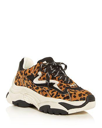 Ash - Women's AS-Addict Ter Leopard-Print Calf Hair Low-Top Sneakers