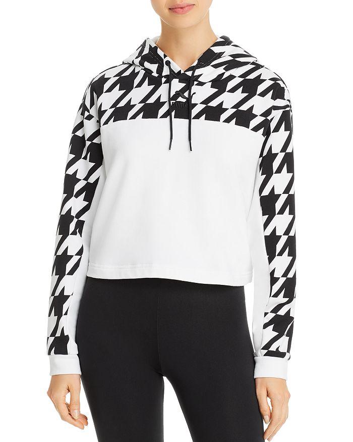 Puma Houndstooth-panel Hooded Sweatshirt In White