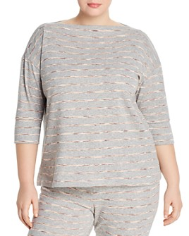 B Collection by Bobeau Curvy - Joss Striped French Terry Top