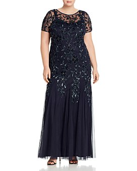 Adrianna Papell Plus - Floral Embellished Godet Gown