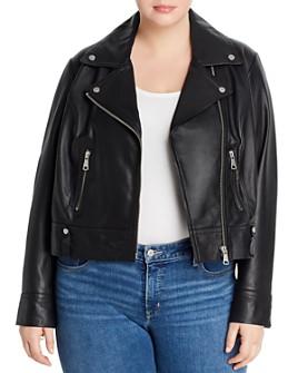 AQUA Curve - Leather Moto Jacket - 100% Exclusive