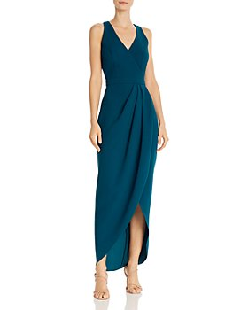 Avery G - Faux-Wrap Crepe Gown