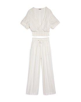 Habitual Kids - Girls' Faye Metallic-Stripe Top & Wide-Leg Pants Swim Cover-Up Set - Little Kid