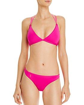 Ralph Lauren - Modern Solids Plunge Lace Back Bikini Top & Devin Hipster Bikini Bottom