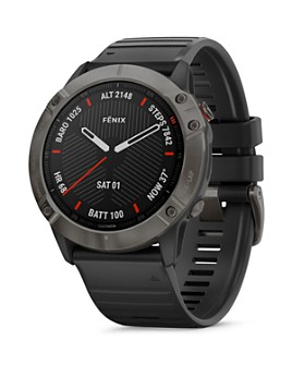 Garmin - Fenix 6X Carbon Gray DLC Black Rubber Strap Smartwatch, 51mm
