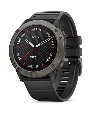 Garmin Fenix 6X Carbon Gray Dlc Black Rubber Strap Smartwatch, 51mm