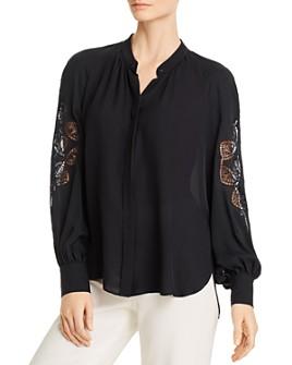 Elie Tahari - Slate Crochet-Detail Silk Shirt